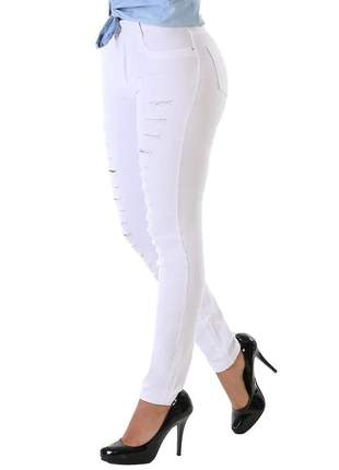 Calça jeans sarja sawary feminina cintura alta c/lycra