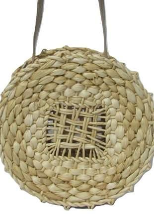 Bolsa de palha crua redonda com alça de couro