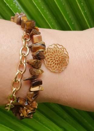Pulseira dourada de pedra natural de olho de tigre e pingente de mandala