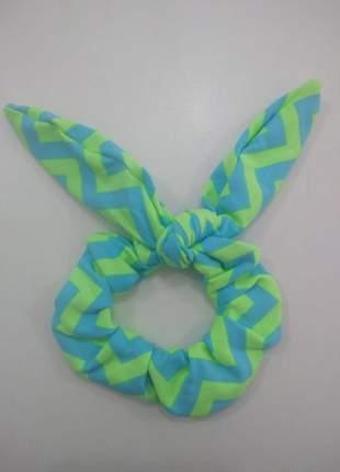 Xuxinha com elástico prendedor de cabelo laço scrunchies zigzag azul e verde neon