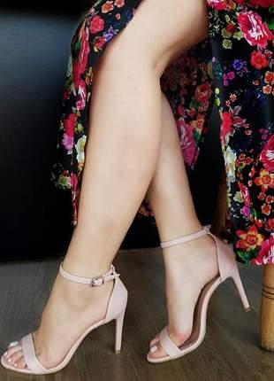Sandalia feminina salto fino rose