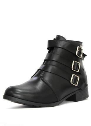 Bota couro dali shoes cano curto salto baixo preta e 3 fivelas metal