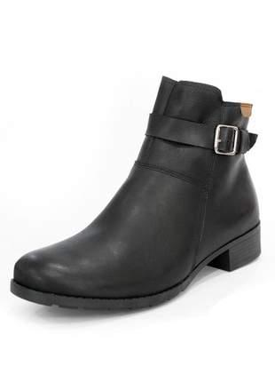 Bota couro dali shoes cano curto salto baixo preta