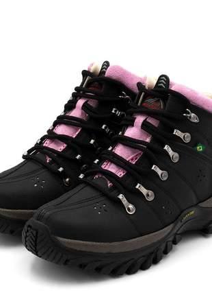 Tênis adventure feminino cano alto feminino preto detalhe  rosa