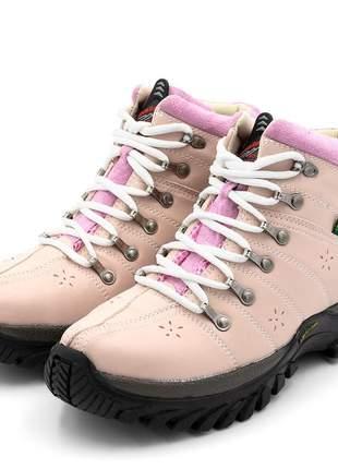 Tênis adventure cano alto feminino rosa detalhe rosa