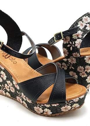 Sandália anabela plataforma sobressalto preta floral x