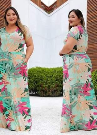 Vestido longo estampado plus size manga curta florido ajuste na cintura