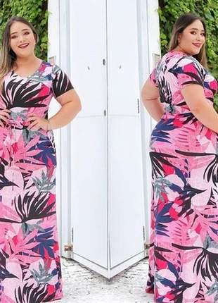 Vestido longo com ajuste na cintura florido plus size viscolycra