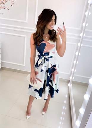 Vestido midi luxo floral