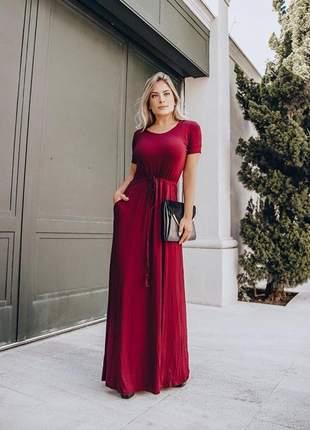 Vestido longo dia a dia casual basico moda blogueira marsala moda cristã