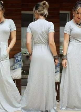 Vestido longo cinza casual basico manga curta ajuste na cintura
