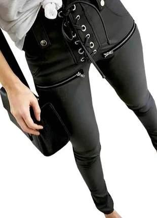 Calça feminina couro ecológico zíper skiny cordão cintura alta