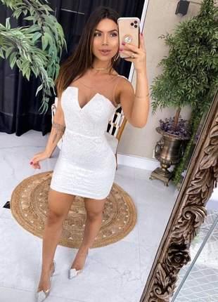 Vestido curto manu renda tule