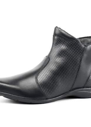Bota casual cano curto sapatofran conforto em couro preta
