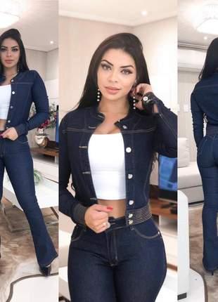 Jaqueta jeans escura com lycra gola padre