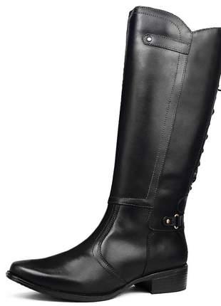 Bota cano alto de luxo em couro legítimo sapatofran com zíper e amarras preto