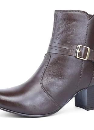 Bota cano curto em couro luxo sapatofran salto em bloco café