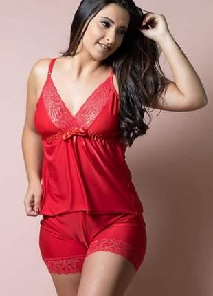 Baby doll lingerie pijama shorts conjunto p m g gg vermelho preto