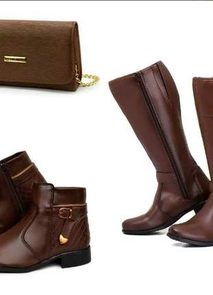 Kit bota montaria + bota coturno + bolsa clucth marrom