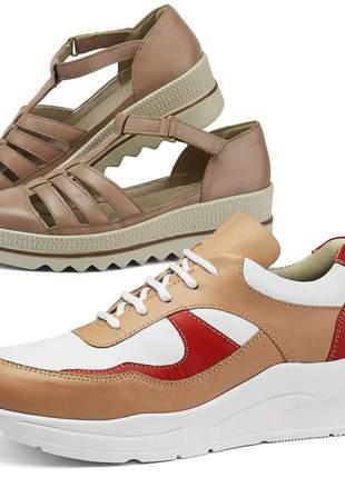 Kit tênis dad sneaker com assandalhado sapatofran em couro nude e rose