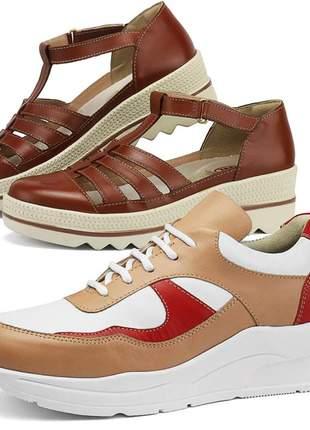 Kit tênis dad sneaker com assandalhado sapatofran em couro nude e chocolate