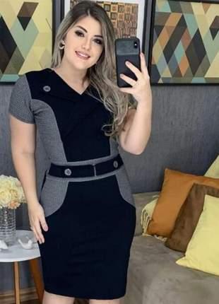 Vestido evangelico social midi preto com cinza ref 756