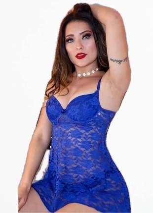 Camisola renda bojo lingerie decote azul preto vermelho branco