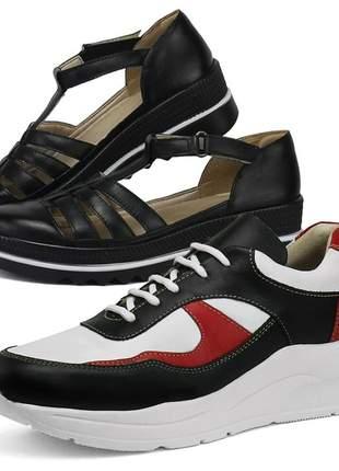 Kit tênis dad sneaker com assandalhado sapatofran em couro preto e preto