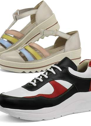 Kit tênis dad sneaker com assandalhado sapatofran em couro preto e of white
