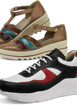 Kit tênis dad sneaker com assandalhado sapatofran em couro preto e vinho