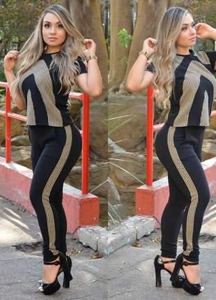 Conjunto feminino preto social calça e blusa ref 759