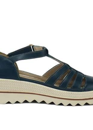 Kit tênis dad sneaker com assandalhado sapatofran em couro preto e marinnho