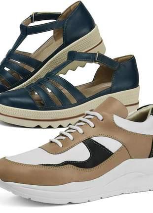 Kit tênis dad sneaker com assandalhado sapatofran em couro pele e marinho