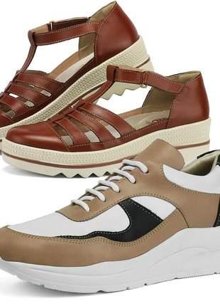 Kit tênis dad sneaker com assandalhado sapatofran em couro pele e chocolate