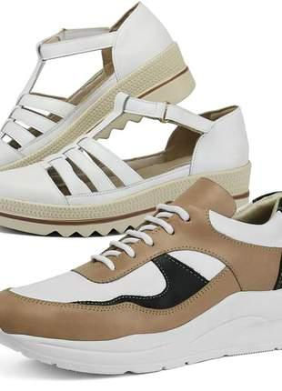 Kit tênis dad sneaker com assandalhado sapatofran em couro pele e branco