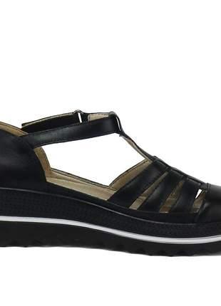 Kit tênis dad sneaker com assandalhado sapatofran em couro pele e preto