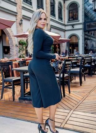 Macacão feminino manga longa pantacourt canelado moda inverno