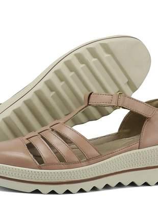 Kit tênis dad sneaker com assandalhado sapatofran em couro branco e rose