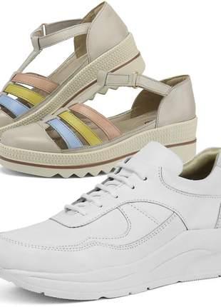 Kit tênis dad sneaker com assandalhado sapatofran em couro branco e of white