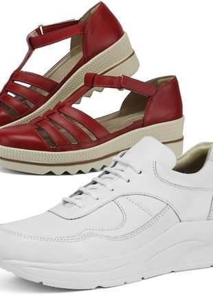 Kit tênis dad sneaker com assandalhado sapatofran em couro branco e vermelho
