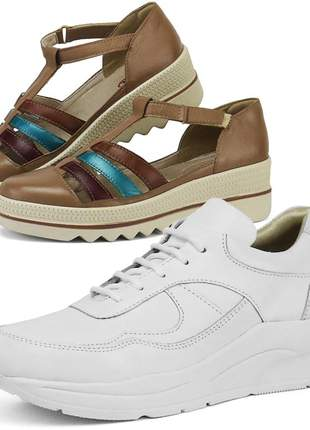 Kit tênis dad sneaker com assandalhado sapatofran em couro branco e vinho