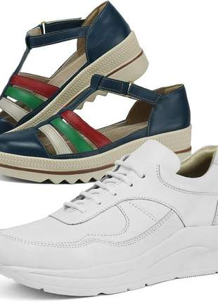 Kit tênis dad sneaker com assandalhado sapatofran em couro branco e marinho