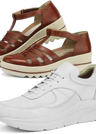 Kit tênis dad sneaker com assandalhado sapatofran em couro branco e chocolate