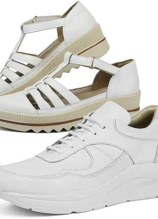 Kit tênis dad sneaker com assandalhado sapatofran em couro branco e branco