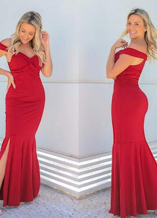 Vestido longo ombro a ombro com fenda vermelho