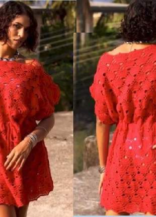 Vestido/saída de praia kaftan de crochê veste do p ao plus size