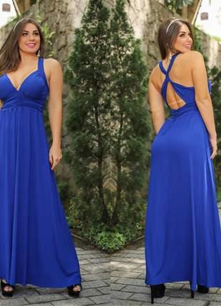 Vestido longo decotado cruzado nas costas azul royal viscolycra