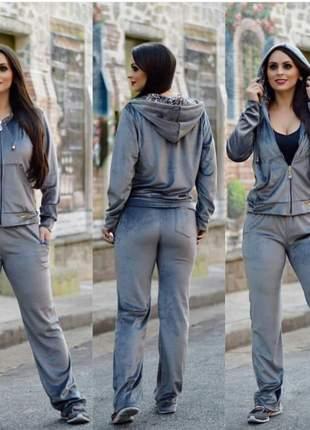 Conjunto plush feminino calça e casaco forrados com touca