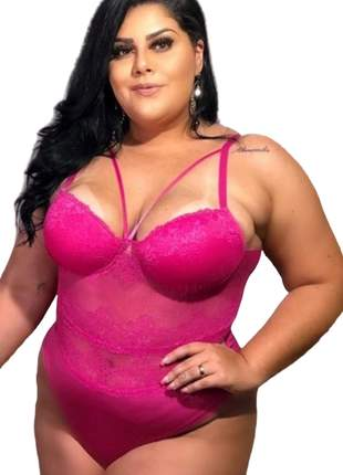 Body plus size 46 48 50 52 renda strappy lingerie luxo