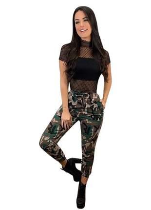 Calça jogger feminina camuflada exército casual balada